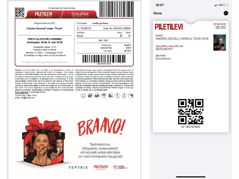 online tickets